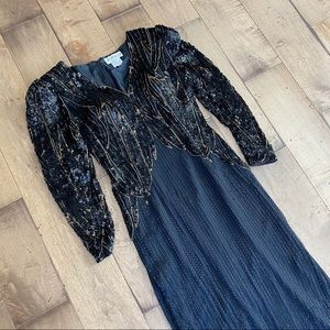 Vintage 80s Jovani Gown Silk Beaded Black Dress 10